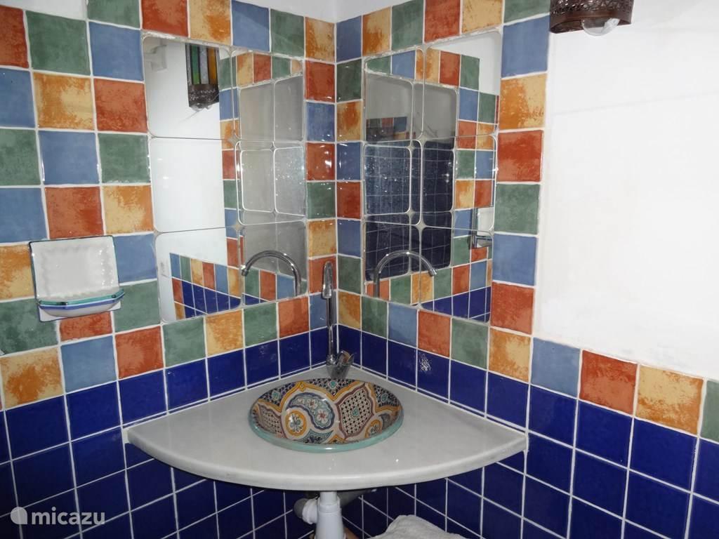 De kleurrijke badkamer heeft een inloopdouche, een wastafel en toilet.