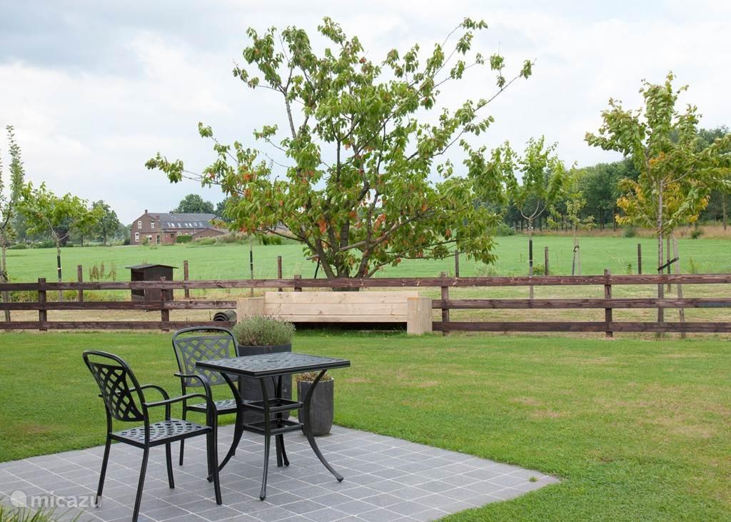Het terras behorend bij de kamer. Op de houten bank is het in de zomer goed vertoeven onder de kersenboom.