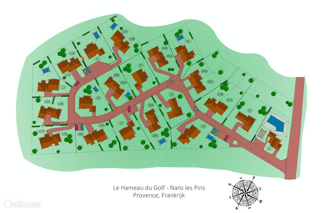 Plattegrond (park) domaine met villa 16-B linksonder