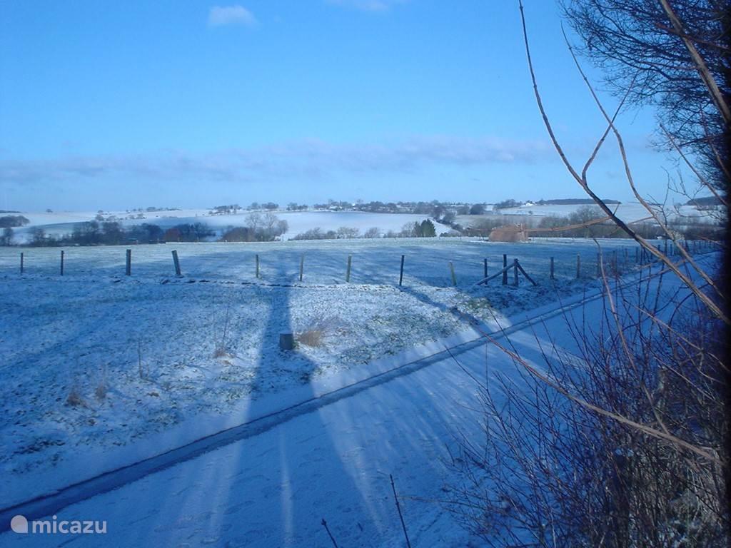 winterlandschap achter het vakantiehuis