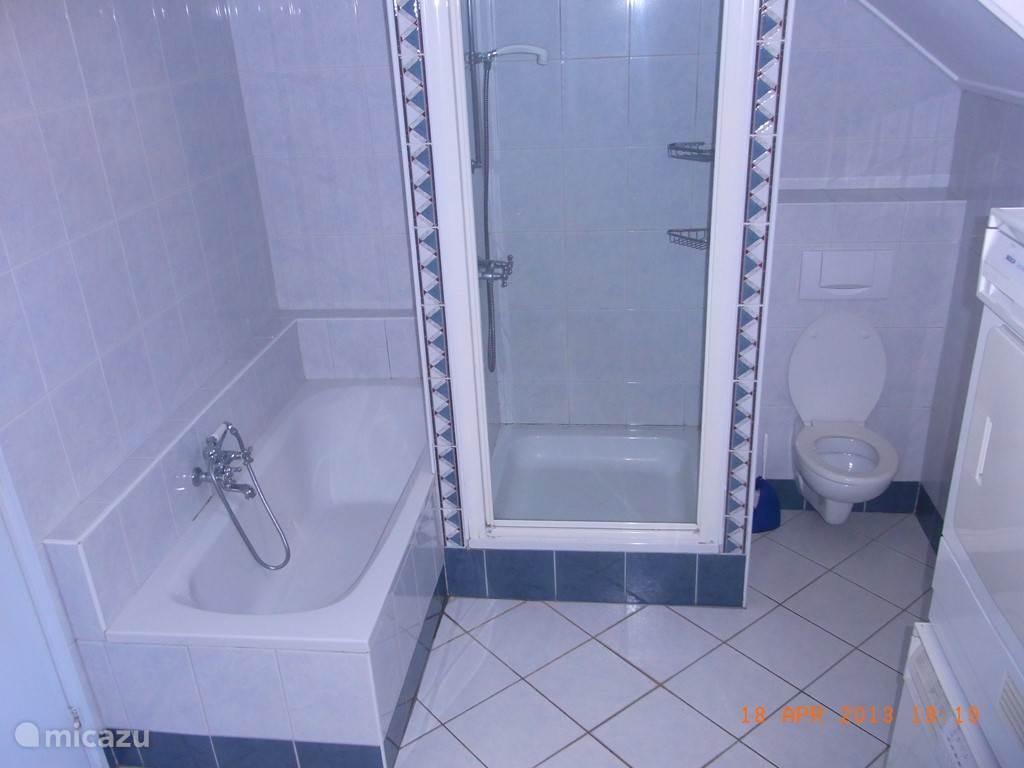 Grote badkamer met ligbad, aparte douche, toilet, 2 wastafels en wasautomaat plus wasdroger.