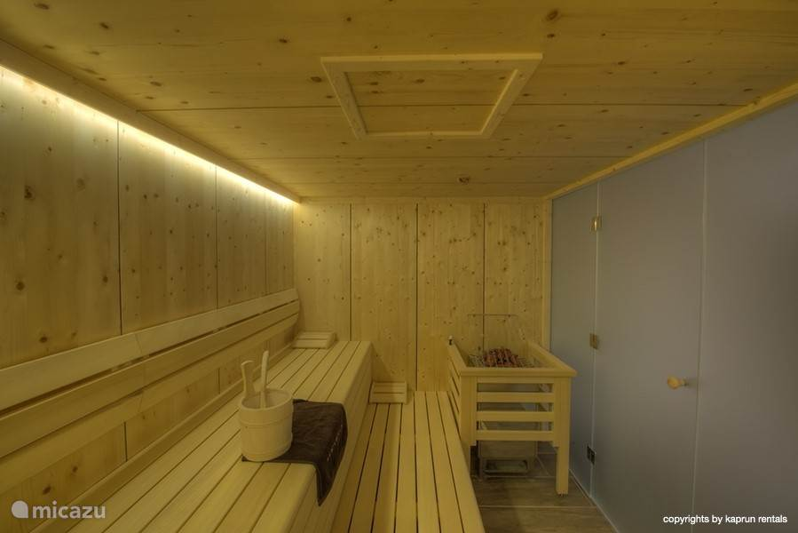 Ample space in the luxurious sauna.
