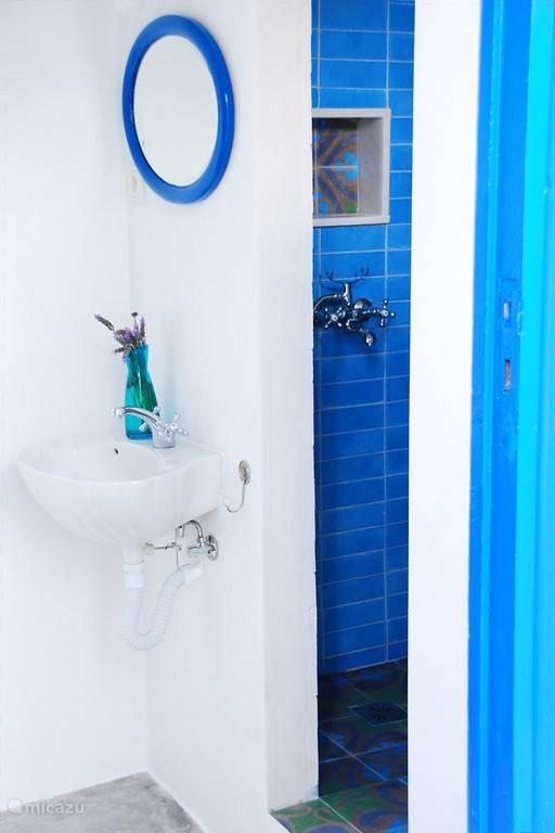 de badkamer in het gastenhuisje