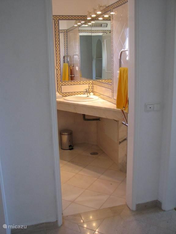 Badkamer 1 met douche , wastafel en toilet