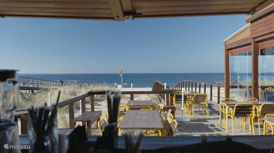 Een heerlijk terras aan het strand