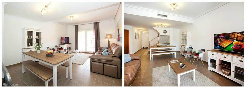 Grote leefruimte met salon, eettafel, airco, zeer goede Wifi, Tv Vlaanderen...