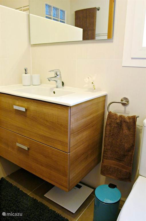 De badkamer die aansluit bij de 'master' bedroom. Deze badkamer beschikt over een toilet, een lavabo, een inloopdouche, verwarming, bidet, linnenmand, haardroger...