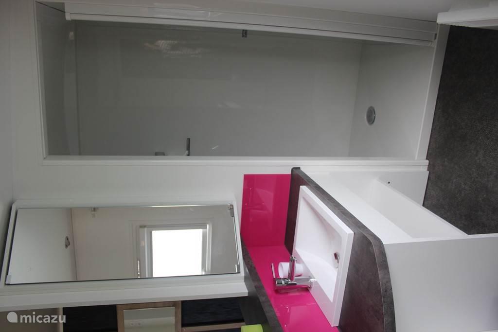 1e badkamer met grote douche en apart toilet