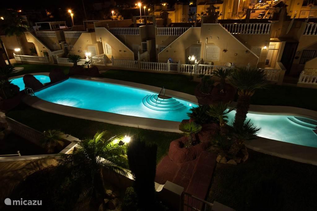 s'avonds zijn tuin en zwembad mooi verlicht