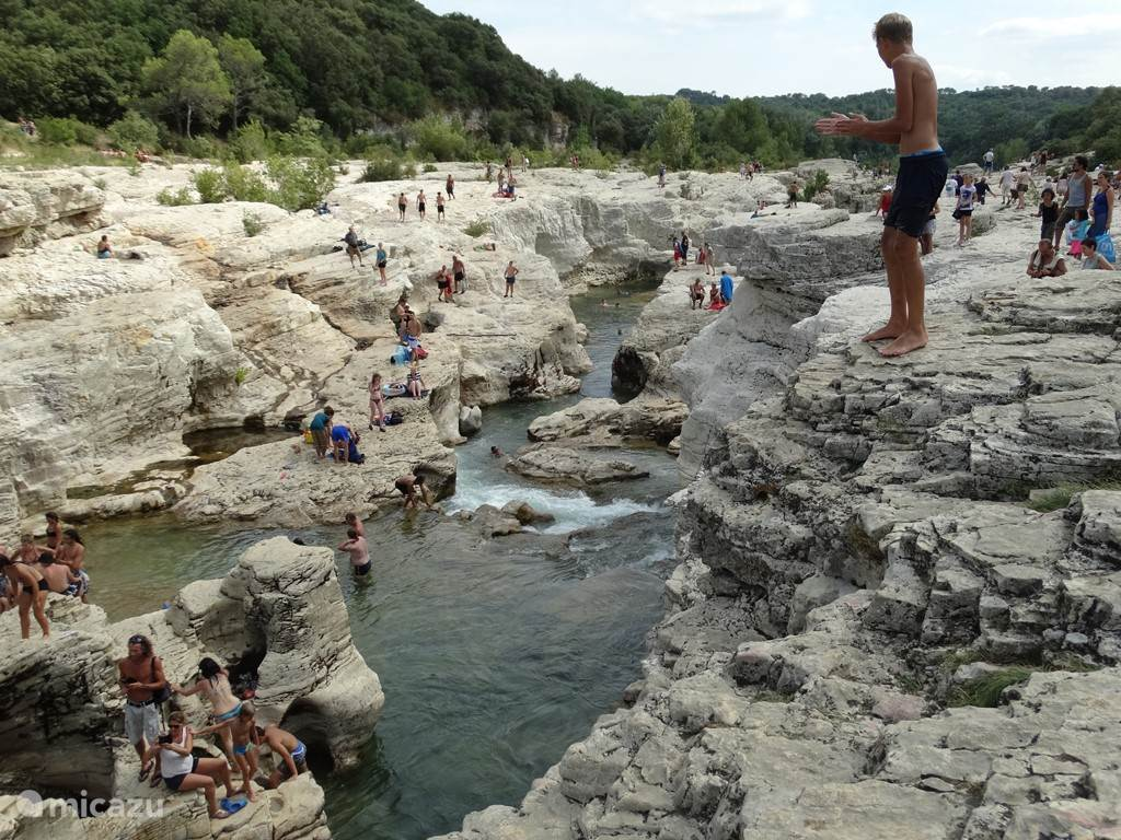 Cascades du Sautadet La Roque sur Cèze This amazing water playground is a paradise for lovers of wild nature in the Gard, you can not only swim, but also walk along the shore to the waterfall Sautadet, at the very end .