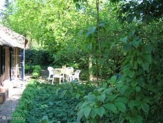 Terras 2, achterkant van het huisje. Door de plaatsing van de terrassen is er altijd wel een plekje met zon of met schaduw te vinden.