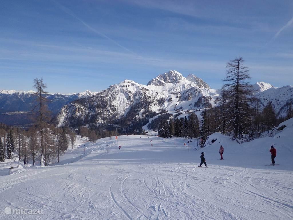 Skiing on the beautiful slopes of the Nassfeld ski area, 110 km of slopes