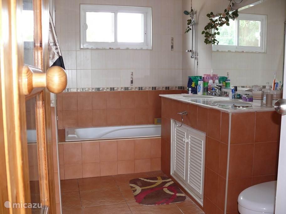 badkamer met douche, ligbed en dubbele wastafel