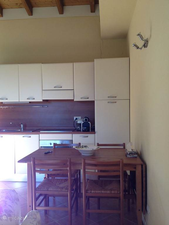 Open kitchen with dishwasher, oven and fridge freezer.