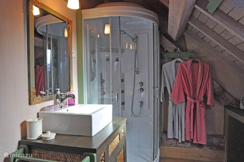de paars gedecoreerde badkamer