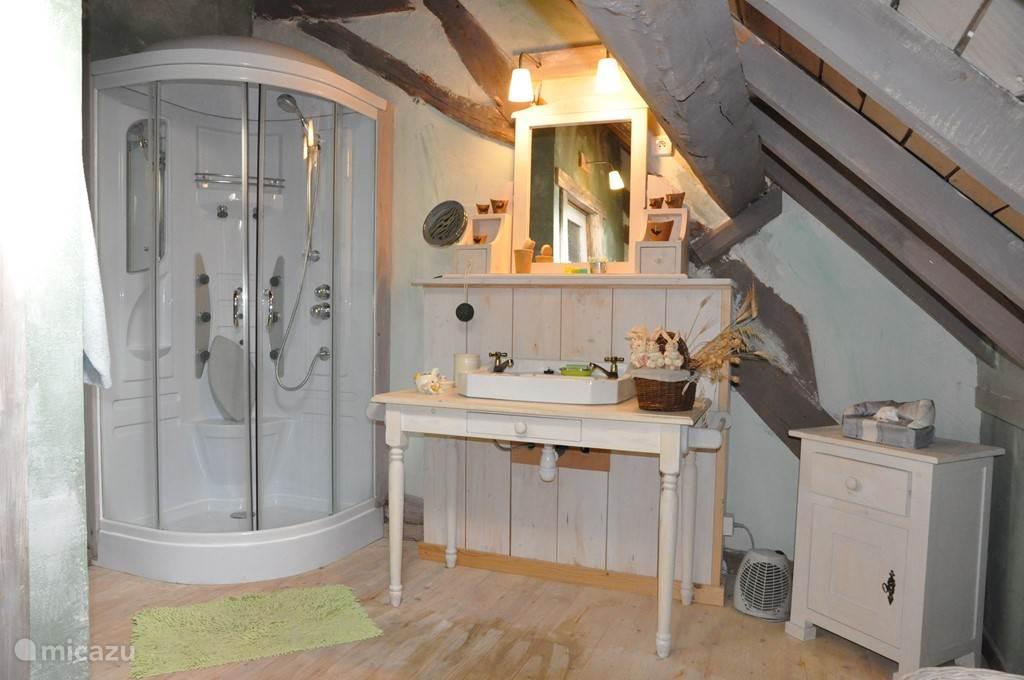 de groen gedecoreerde badkamer