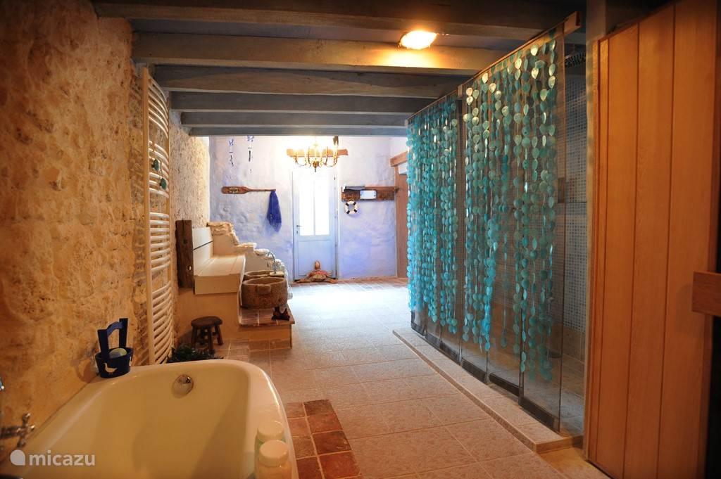 wellness ruimte met sauna, infra rood cabine ,regendouches, bad en voetbaden