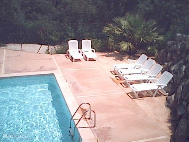 Hoek zwembad en terras