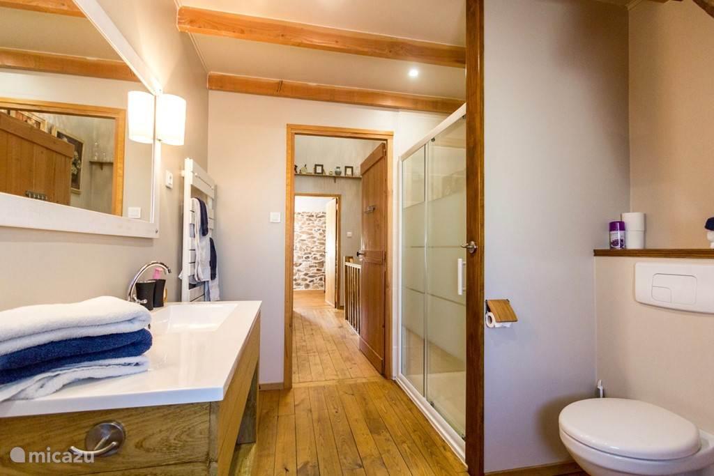 badkamer met ligbad en inloopdouche