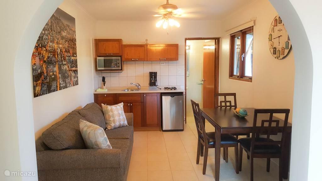 Overizht woonkamer, keuken en toegang tot badkamer