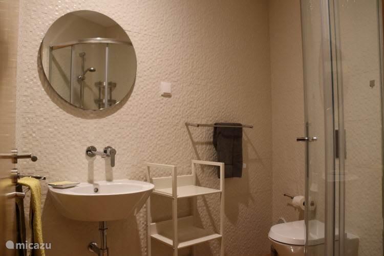 De kleinere van de twee badkamers op de eerste verdieping