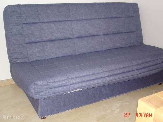 Slaapkamer met aparte slaapbank voor een vijfde gast.
