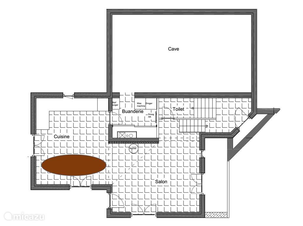 Plattegrond begane grond, met keuken, bijkeuken en woonkamer