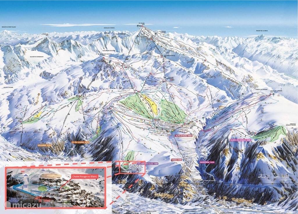 Centrale ligging van Villard Reculas in Alpe d'Huez Grand Domaine Ski