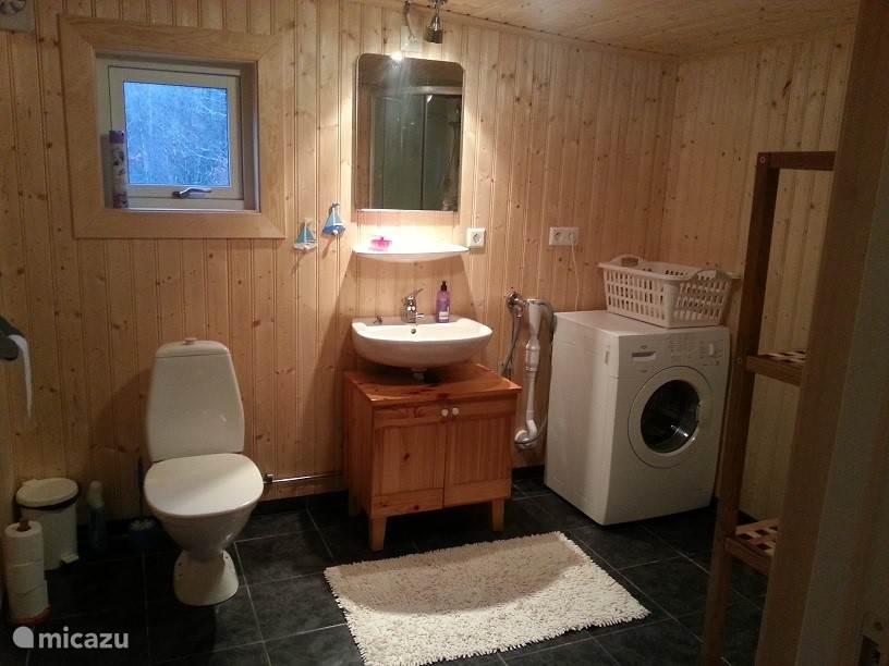 De nieuwe badkamer met luxe douche, wastafel, wc en wasmachine.