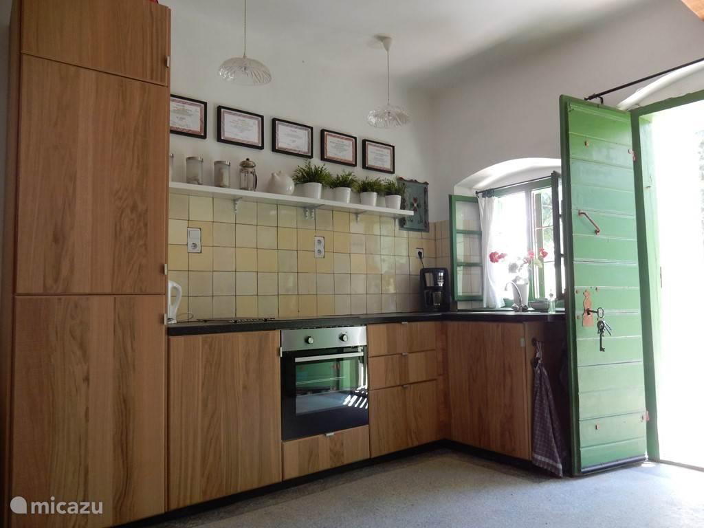 moderne open keuken met inductiekookplaat en oven