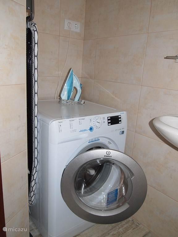 Badkamer beneden met toilet, wastafel, wasmachine, strijkplank en strijkbout.