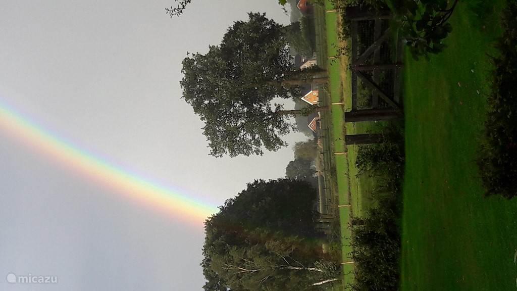 Regenboog vanuit de achtertuin