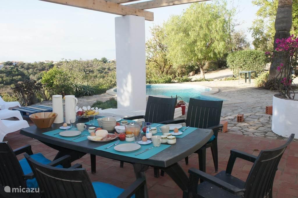 Ontbijten op het terrras, altijd wel een plekje in de zon of juist in de schaduw te vinden