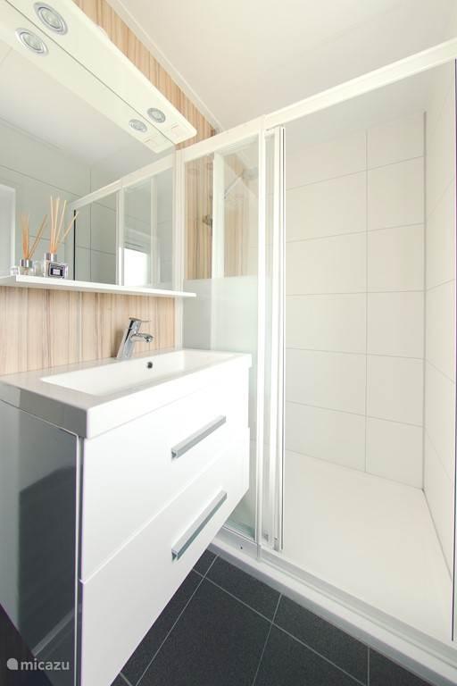 Badkamer met douchecabine en badkamermeubel.