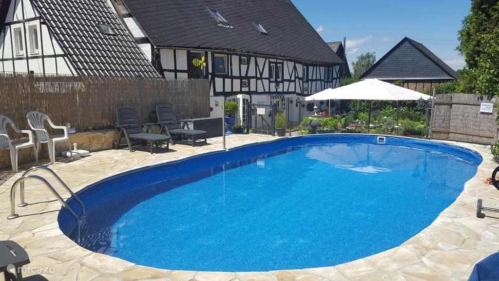 Het zwembad met vakantiehuis Steenenhoeve.