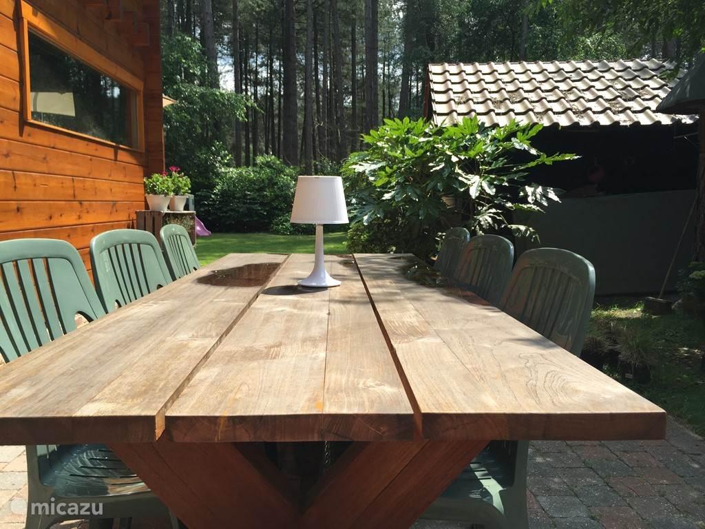 Zonnig terras met een lange houten tuintafel