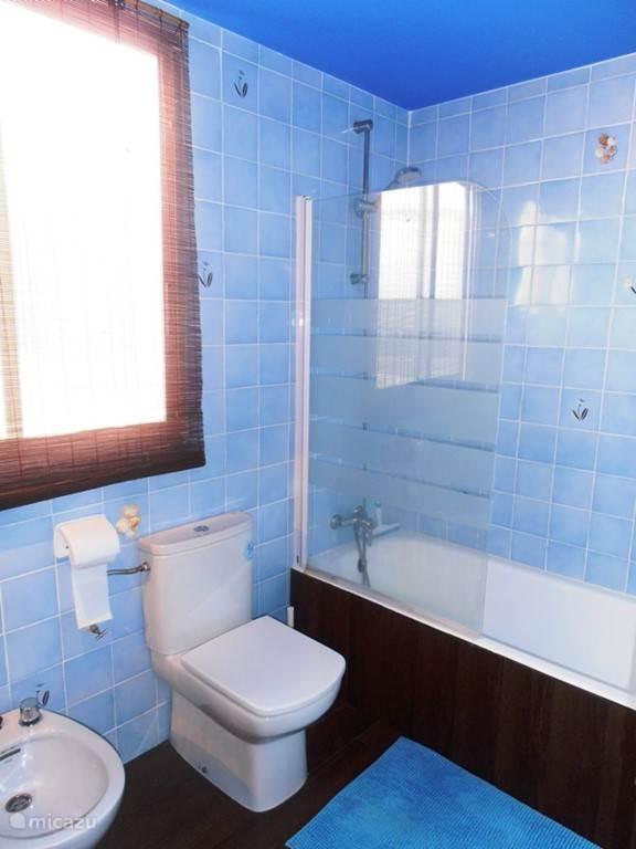 badkamer met douch en bad bidet en wasmeubel en raam naar binnenplaats.