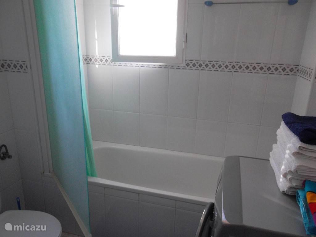 Badkamer met ligbad, wc en wastafel. Hier bevindt zich ook de wasmachine.