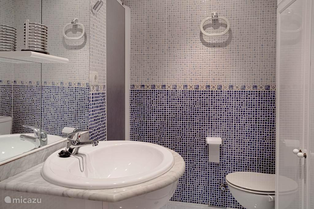 De badkamer met de wc en de wasmachine