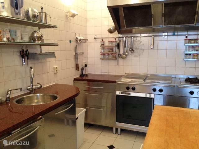Professional keuken, met ovens, stoomoven, wik, grilplaat, wasmachine