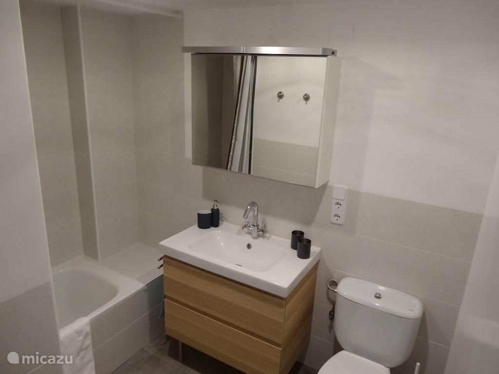 Badkamer 2 met bad, toilet en wastafelmeubel.