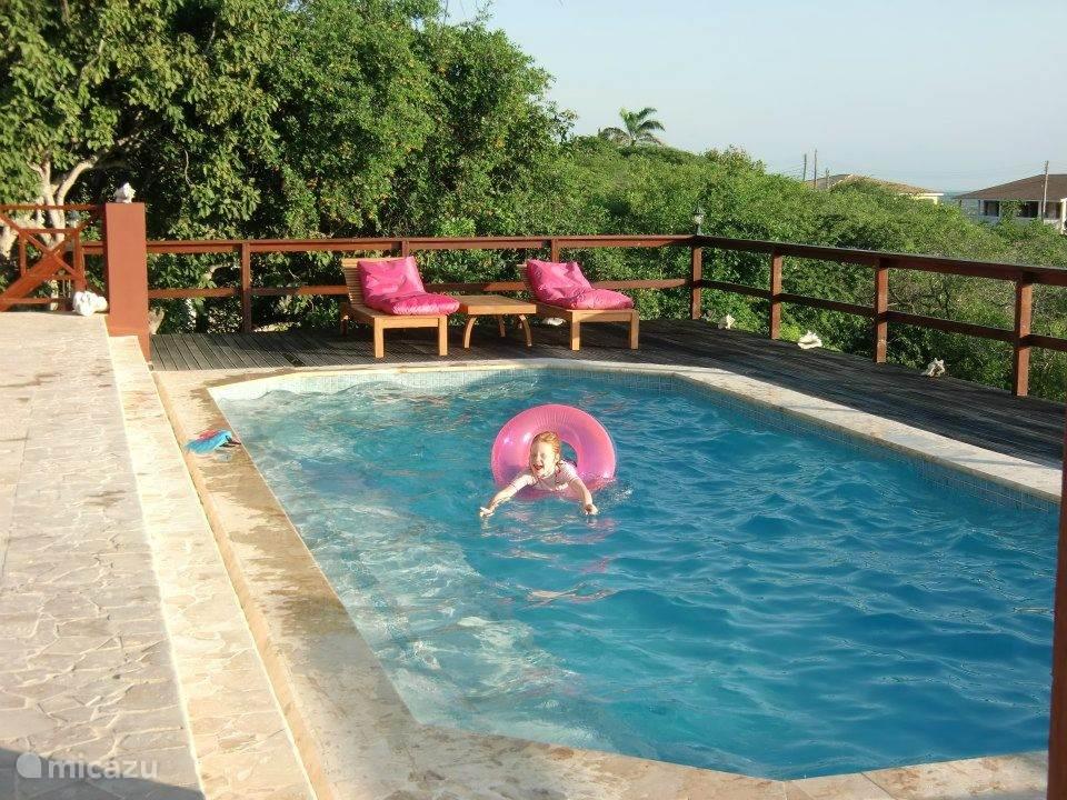 Kinderen kunnen heerlijk spelen in het zwembad.