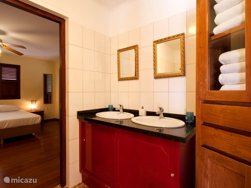 The bathroom with shower and toilet belongs to the main bedroom.