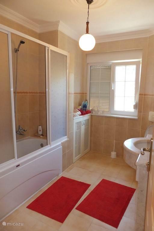 Badkamer voorzien van ligbad en douche en toilet