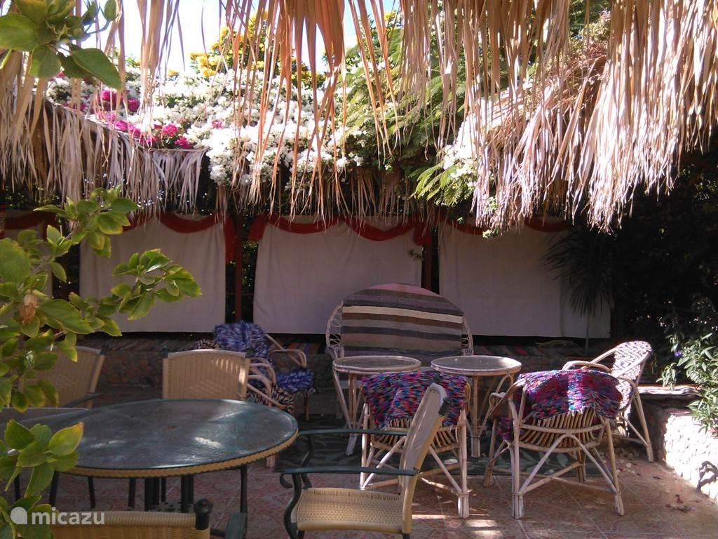 Pergola in dem Garten mit Grossen Tisch und Stühlen