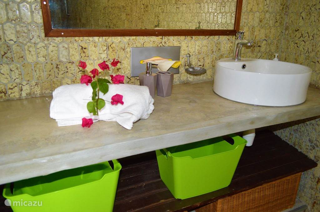 The bathroom is a combination of modern and authentic 60s vibe, and is equipped with a toilet, sink, shower, mosquito net, hair dryer and towels.