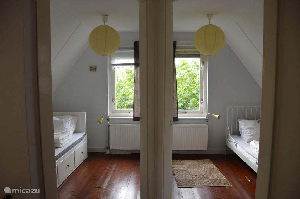 2 kleinere slaapkamers met 1-persoonsbed. Voor een 5e persoon is een bed uitschuifbaar