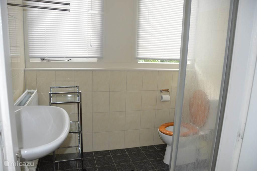 Badkamer met wastafel, douche en toilet. Een 2e toilet is op de begane grond