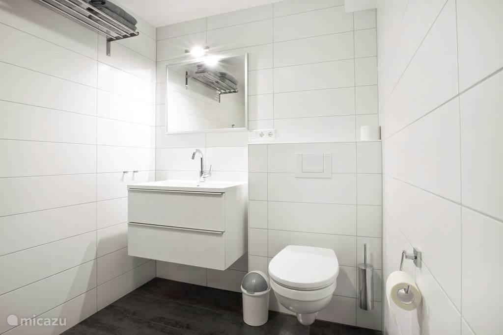 Appartement B badkamer met wastafel.