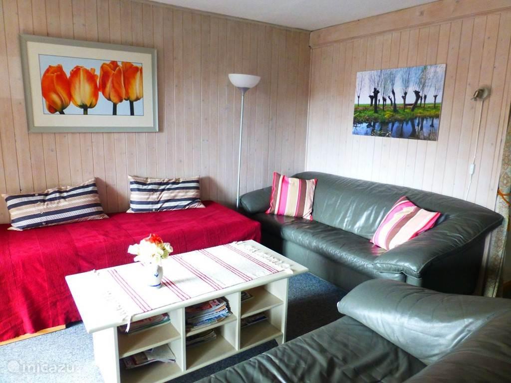 Woonkamer met uitschuifbaar bed voor 2 personen (rode sprei).
